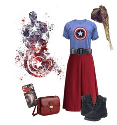 """""""Captain America #002"""" by that-skirt-girl ❤ liked on Polyvore featuring Chicwish, Oscar de la Renta, Dressage Collection and Timberland"""