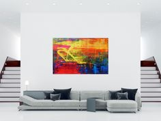 Bunt, Modern, Abstract Art, Tapestry, Painting, Home Decor, Abstract Canvas Art, Colors
