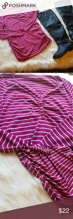 Motherhood Maternity Pink Striped Top 55)	This blouse is from Motherhood Maternity. It is a bold pink and white striped blouse. Rouched on the side for comfort and also very soft a stretchy to accommodate your cute bump! Condition: EUC No flaws Size: Maternity- XL Length: 30 Sleeves: 25 Make a reasonable offer or add to bundle for a private offer! Motherhood Maternity Tops Blouses