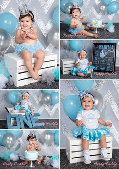 Ready Freddie Studios Cinderella Themed Cake Smash Photography Session for this beautiful one year old girl. Love the blue and grey balloons, grey and silver glitter chevron and the one year chalkboard.