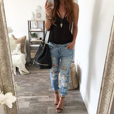 Ropes Boyfriend Jeans, Nude Heals, and a black tank that's fitted around the shoulders, paired with a black handbag and simple statement accessories gives this look the perfect casual, rock, yet chic twist all in one