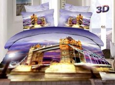 New Product London Bridge City Night Bedding Set Queen Size Cotton Home Textiles Sets Bed Sheet Quilt Cover Pillowcase Down Comforter Bedding, 3d Bedding Sets, Queen Bedding Sets, Queen Duvet, Comforter Sets, Queen Size Duvet Covers, Duvet Cover Sets, Beautiful Bedding Sets, Sky Bridge