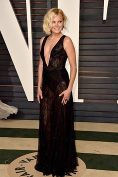 Malin Akerman looked sexy in a black lace dress.