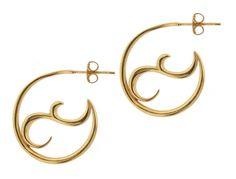 Dinny Hall 22ct Gold Vermeil Small Ying Yang detail Hoop Earrings