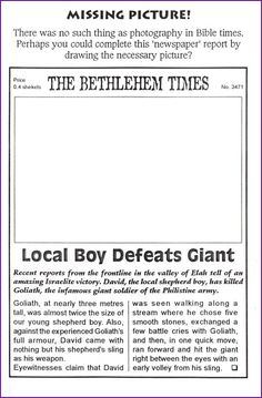Draw a Newspaper Picture of David and Goliath - Kids Korner - BibleWise