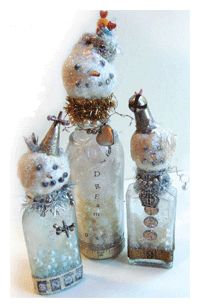 The Mixed-Media Assemblage that Snowballed - Sue Pelletier's original snowmen . . . one of my fav projects!