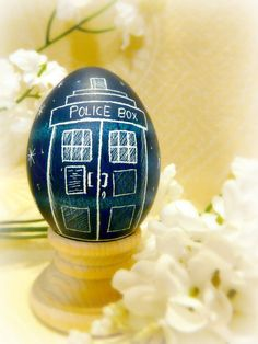 Blue Geekery Egg - Doctor Who Tardis - It's Bigger on the Inside - Police Box - Present Birthday and More Space Science Pysanky - Stand