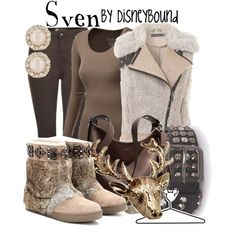 "BOOTS! –– ""Sven"" by leslieakay on Polyvore Frozen Outfits, Disney Themed Outfits, Outfits Otoño, Disney Bound Outfits, Fandom Outfits, Disney Dresses, Disney Clothes, Frozen Clothes, Movie Outfits"