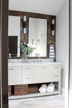 Towel storage underneath godmorgon vanities + open shelving between vanities as well - buy extra walnut pieces from swmihomemade