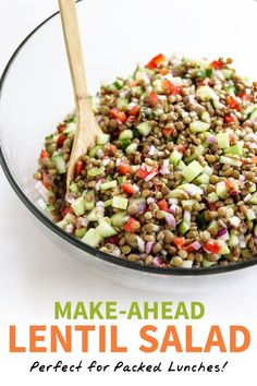 "Lentil Salad (Perfect for Make-Ahead Meals!) The BEST Lentil Salad! Perfect for ""meal prep"" at the beginning of the week, loaded with protein-packed lentils, fresh veggies, and an easy dressing. Veggie Recipes, Whole Food Recipes, Vegetarian Recipes, Cooking Recipes, Healthy Recipes, Vegan Lentil Recipes, Bean Salad Recipes, Freezer Recipes, Vegan Soup"