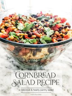 Cornbread Salad Recipe - use pantry staples and a few fresh ingredients to make this delicious salad Cornbread Salad Recipes, Chicken Salad Recipes, Best Side Dishes, Side Dish Recipes, Vegan Kitchen, Kitchen Recipes, Basic Food Groups, Mulling Spices, Strawberry Recipes