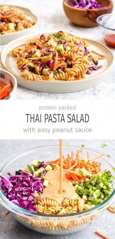 Protein Packed Thai Pasta Salad is a healthy 20 minute dinner recipe. It packs i… Protein Packed Thai Pasta Salad is a healthy 20 minute dinner recipe. It packs in over 18 grams of protein and is full of veggies! Thai Pasta, Thai Noodle Salad, Gluten Free Recipes For Dinner, Easy Dinner Recipes, Easy Meals, Dinner Ideas Healthy, Dessert Recipes, Delicious Recipes, Healthy Dinner Sides