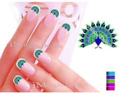 Nail Art Decals, Water Slide Nail Stickers, Peacock. $2.45, via Etsy.