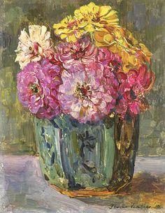 Still Life w/ Zinnias in a Pot -- 1910 -- Floris Verster -- Dutch -- Oil on canvas -- Rijksmuseum, Amsterdam, Netherlands.