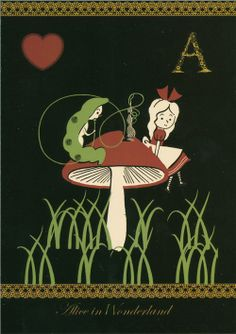 black Shinzi Katoh postcard Alice in Wonderland 1