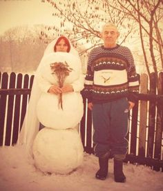 I Love My Wife But She is Very Cold - Guy Marries a Snowman Bride Wedding Photo ---- best hilarious jokes funny pictures walmart humor fail