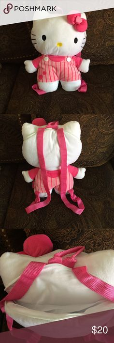 Hello Kitty Sanrio pink plush backpack. Hello Kitty Sanrio pink plush backpack. 16in. This kitty is part of a collection glass kept. Schools just around the corner what more does a little girl need than her own Hello Kitty backpack. Hello Kitty Other