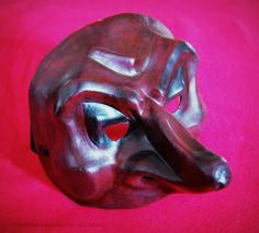 Il Capitano Commedia dell'Arte character leather painted mask
