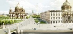 isualization of the Castle / Humboldt-Forum including the urban space next to it, the subway station entrances (U-Bahn) and the Cathedral in its historical appearance with imperial lanterns and the old cupola!