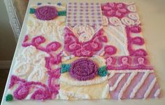 10 Vintage Chenille Fabric Squares Purple Rosebuds and Posies