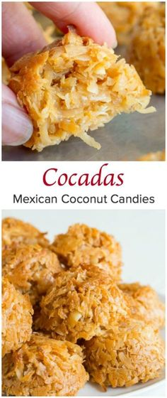 Only 3 ingredients to these chewy, sweet coconut heaven! My take on classic Mexican cocadas, perfect Cinco de Mayo treat! Only 3 ingredients to these chewy, sweet coconut heaven! My take on classic Mexican cocadas, perfect Cinco de Mayo treat! Weight Watcher Desserts, Mexican Dessert Recipes, Mexican Dishes, Mexican Sweet Breads, Mexican Coconut Candy Recipe, Coconut Candy Recipe Condensed Milk, Coconut Recipes Easy, Mexican Candy Bar, Authentic Mexican Desserts