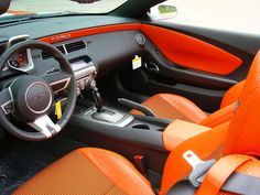 2013 Custom Camaro SS Convertible An Indy Pace Car Tribute orange and black houndstooth... custom interior seats