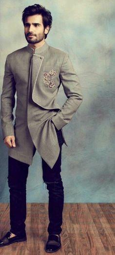 For men fashion trends men blazer coat style Mens Indian Wear, Mens Ethnic Wear, Indian Groom Wear, Indian Men Fashion, Mens Fashion Suits, Mens Suits, Groom Fashion, Wedding Dresses Men Indian, Wedding Dress Men