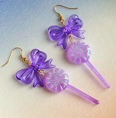 Lollipop Earrings  Kawaii Sweet Lolita Fairy Kei by XKawaiiCutieX