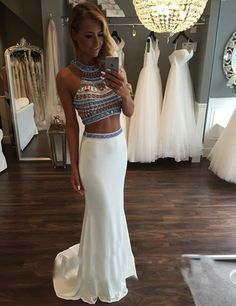 Sexy  2 Pieces Crop Top Beaded Diamond Rhinestones  Prom Dress New Fashion Halter Nice Mermaid Prom Gown Formal Maxi Dress-in Prom Dresses from Weddings & Events on Aliexpress.com | Alibaba Group