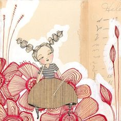 folk painting of girl with red flowers -  8 x 8 inch limited edition and archival print by cori dantini