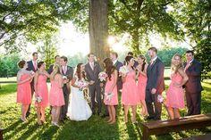 Lexington, KY Wedding • Polo Barn at Saxony Farm • Southern • Horse Farm • Summer Wedding • Barn • Groom • Bride • Bridesmaids • Groomsmen • Coral • Grey