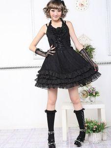 Black Sleeveless Punk Cotton Blend Lolita Dress