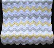 Yellow, Gray, White Chevron Baby Blanket, Chevron Nursery Theme, Baby Shower Gift