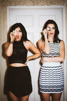 Kylie and Kendall Jenner is black and white summer outfits for Pacsun #blackandwhite #skirt