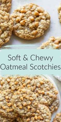 These Oatmeal Scotchies are incredibly soft, chewy, packed with butterscotch chips, and easy to make too. The perfect cookie for any occasion! Grab your butterscotch chips and bake a few batches of these soft and chewy, oatmeal scotchies cookies! Oatmeal Butterscotch Cookies, Toffee Cookies, Yummy Cookies, Recipes With Butterscotch Chips, Oatmeal Chocolate Chip Cookies In A Jar Recipe, Desserts With Oatmeal, Cookies With Oatmeal, Oatmeal Scotchie Cookie Recipe, Quick Cookies