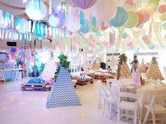 Boho chic partyscape from a Coachella Music & Arts Festival Inspired Birthday Party on Kara's Party Ideas | KarasPartyIdeas.com (10)