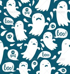 Ghost Pattern — Vector EPS #seamless #illustration • Available here → https://graphicriver.net/item/ghost-pattern/3265485?ref=pxcr