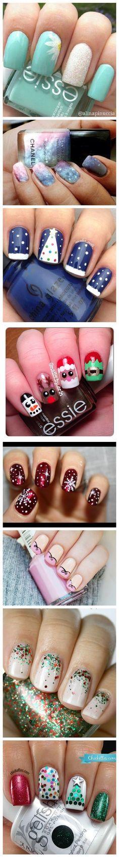 Image Most Cute Christmas Nail Art Designs Cute Nail Art, Nail Art Diy, Easy Nail Art, Diy Nails, Xmas Nails, Holiday Nails, Fingernail Designs, Nail Art Designs, Fancy Nails
