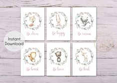 Floral Woodland Animal Quote Set of 6 Printable Prints - Wall Art Printable Prints Nursery Wall Art, Girl Nursery, Nursery Decor, Bedroom Decor, Nursery Ideas, Floral Nursery, Floral Wall Art, Decor Ideas, Room Ideas