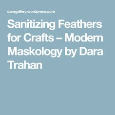 Sanitizing Feathers for Crafts – Modern Maskology by Dara Trahan