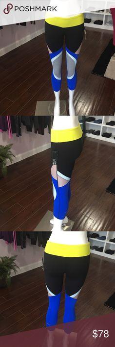 Splits59 colorful leggings Splits59 capris neon blue yellow black Splits59 Pants Capris