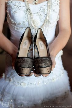 Love these platform heels for extra height on your #wedding day.
