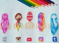 social media art discovered by Becca Styles on We Heart It Amazing Drawings, Cute Drawings, Amazing Art, App Drawings, Drawing Sketches, Drawing Ideas, Social Media Art, Apps, How To Draw Hair