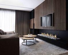 Living Room Tv Unit Designs, Living Room Wall Units, Living Room With Fireplace, Home Living Room, Interior Design Living Room, Fireplace Kitchen, Painel Tv Sala Grande, Muebles Living, Fireplace Design