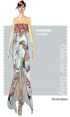 Dennis Basso in Pantone Glacier Gray - SPRING 2015 PANTONE's #FashionColorReport