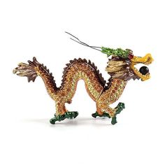 """""""Sparkling #ChineseDragon Item No. KB00485A01 $34.29 Enjoy the year of the dragon all the time with this sparkling Chinese dragon trinket box. It measures 4 1/4"""" long, and is decorated with many tan and clear Swarovski crystals. Made from pewter. Contains one magnet and hinge."""" Golden Frog, Ribbon Box, Year Of The Dragon, Chinese Dragon, Jewel Box, Horse Head, Keepsake Boxes, Trinket Boxes, Small Gifts"""