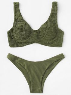 To find out about the Underwire Shirred Top With Cheeky Bikini Set at SHEIN, part of our latest Bikini Sets ready to shop online today! Cute Swimsuits, Women Swimsuits, Bikini Set, Bikini Tops, Bikini Outfits, Cute Bathing Suits, Camping Outfits, Summer Suits, Summer Bikinis