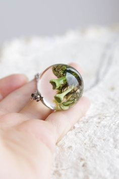 Lichen and Moss Terrarium Necklace   resin micro by UralNature