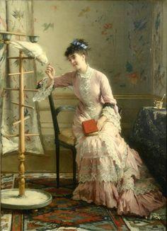 Friendship and Affection (1870's). Gustave Léonard de Jonghe (1829-1893). Belgian painter and water colorist.