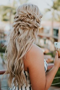 stacked twist half up half down hairstyle with waves | #promgair